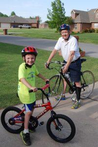 Steve Lovelace - biking with son